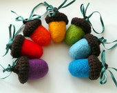 7 Big Rainbow  Acorns with chocolate brown hats - crocheted and felted