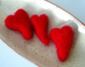3 red hearts - felted  brooches