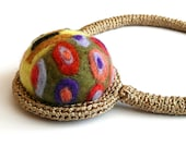 Yellow - golden necklace - pincushion -Gustav Klimt (The Kiss) inspired collection - handmade wool -Thanksgiving Christmas gift