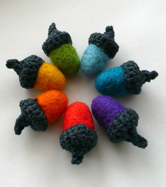 7 Rainbow Acorns crocheted and felted