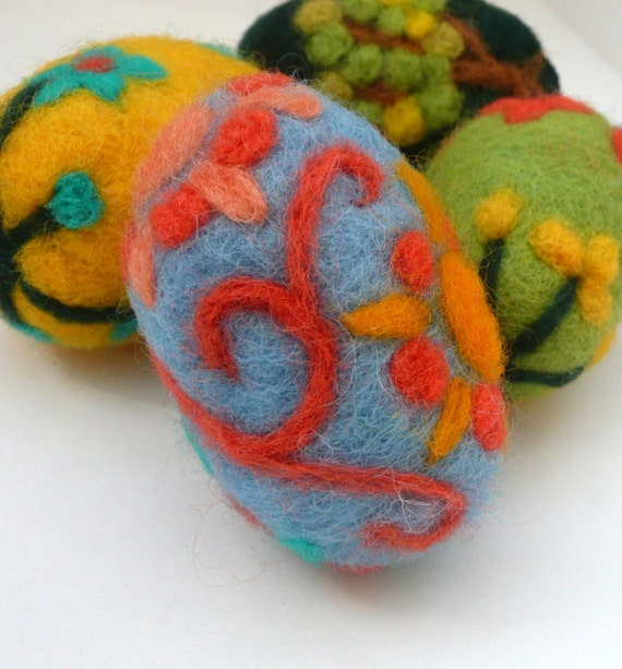 Felted blue egg with flowers