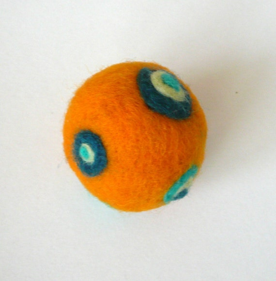 Orange wool ball - felted  decoration  ornament pin cushion children toy gift spring autumn circle