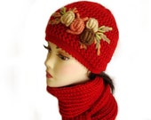 Hand knit Hat and Scarf Set Red with Crochet Flower Applique