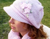 Pink Hat Cap with Crochet Flower cashemere bland Slouchy hat