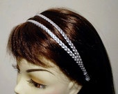 Headband Silver or Gold, Double Strap Leather Headband Wedding Prom Party
