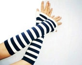 Classic Striped Fingerless Gloves White, Navy Blue Nautical Soft Cotton Long Arm Warmers