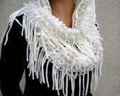 White Crochet Infinity Cowl Pastel Pink Hoodie Neck Warmer Boho Scarf