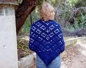 Hand Crochet Blue Triangle Shawl Wool Winter Fashion