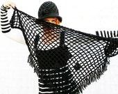Triangle Shawl Hand crochet Classic Black