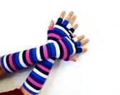 Fingerless Gloves Long Half finger gloves Striped Navy Blue White Pink Soft Mittens