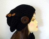 Black Slouchy Hat wih Wooden Button Black Knit Winter
