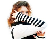 Striped Fingerless Gloves Black and White Cotton Arm Warmers  Steampunk