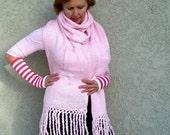 Knit Pink Scarf Pocket Fringe Shawl Cowl Wrap Women fashion