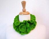 Hand Crochet Ruffles Scarf Olive Green Lace Fall Fashion