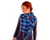 Hand woven Cashmere Scarf Turquoise Blue Fringed