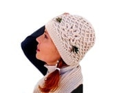 Knit Hat and Scarf Set Beige with Crochet Flower,Fashion Accessory, Women's Hat