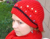 Winter Hat and Scarf Set Hand Knitted Red, Crochet Flowers and Pearl