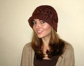 Crochet Flapper Hat Brown with Flower Applique Brimmed Womens Cloche