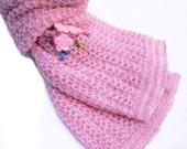 Cashmere Scarf Pink Hand-Knit with Crochet Flower Aplique