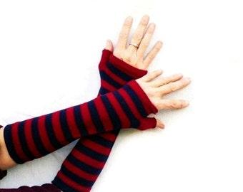 Fingerless Gloves Striped Burgundy Navy Blue Arm Warmers Cotton Long Bohemian