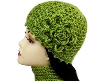 Кnit Hat Olive Green with Crochet Flower beanie Women hat