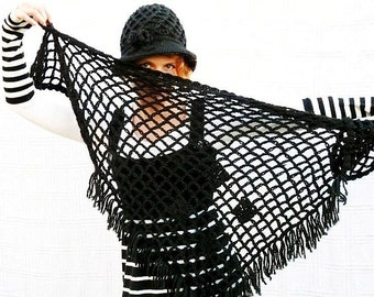 Crochet Shaw Triangle Hand crochet Classic Black Wraps Stole