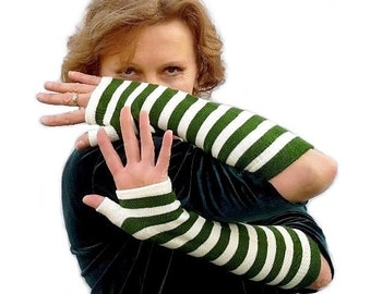 Striped Fingerless Gloves Green White Arm Warmers Steampunk Goth