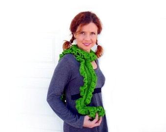 Hand Crochet Ruffles Scarf Olive Green Lace Rusteam Winter Fashion