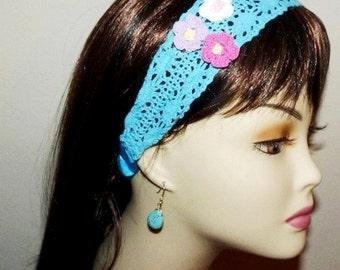 Headband Crochet LaceTurquoise Flower