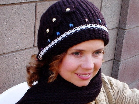 Knit Hat and Scarf Set Black with Crochet Flower and Pearl