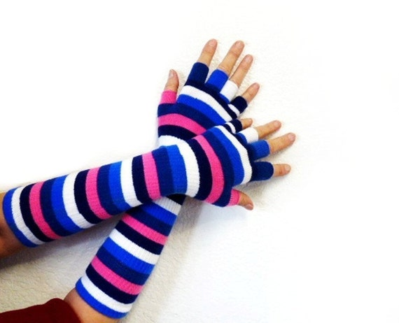 Fingerless Gloves Long Half finger gloves Striped Navy Blue White Pink Soft Mittens