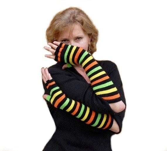 Long Fingerless Gloves, Arm Warmers, Stripes, Steampunk, Classic Chic, Bohemian in Orange Green Black Yellow