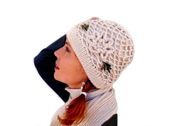 Knit Hat and Scarf Set Beige with Crochet Flower Women accessories winter Hat and skarf