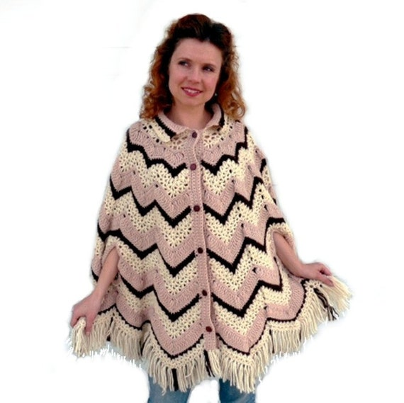 Crochet Poncho Fringe Cape Cardigan Chevron pattern Off White Beige Brown Button up