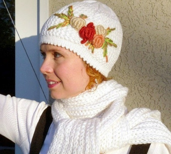 Knit Hat and Scarf Set White with Crochet Flower
