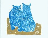 Woodblock: Friends, Blue Bear Comforting the Friend