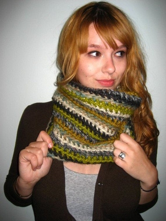 Olive and Lime Kaleidoscope Cowl Scarf