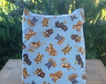 Playful Pups on Blue Kids Reversible Tote Bag