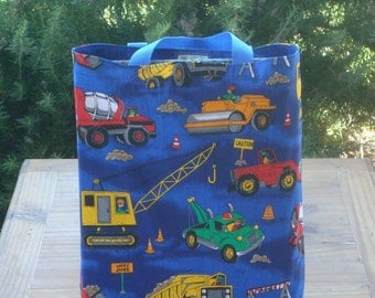 Boy's Reversible Tote Bag in a Road Construction Ahead Print