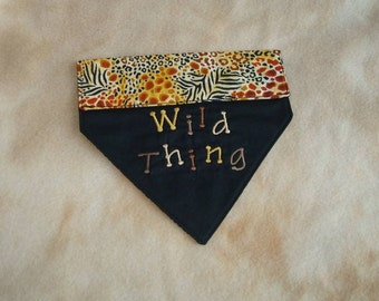 Embroidered Dog Bandana in a Fido Fun Wild Thing Animal Print - Small