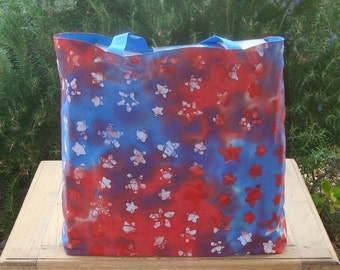 Red White and Blue Star Batik Print Reusable Shopping Tote Bag