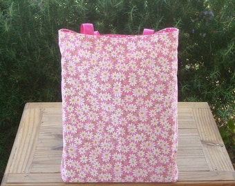 Daisies and Dots on Pink Reversible Kids Tote