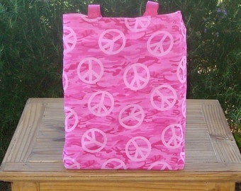 Pink Camouflage and Peace Signs Reversible Girls Tote Bag