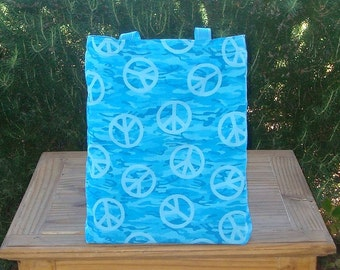 Turquoise Camouflage and Peace Signs Reversible Tote Bag