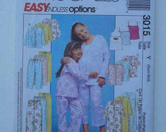 McCalls 3015 - Sewing Pattern for Children's and Girls' Nightshirt or Top, Tank Top and Pull-On Pants -Sizes XS, S- New and Uncut