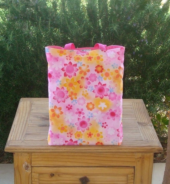 Flowers in Pinks and Sunny Colors Reversible Girls Tote Bag