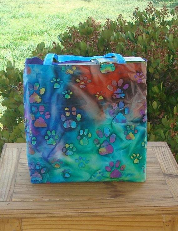 Paw Prints on Multicolored Batik Print Reusable Shopping Tote Bag