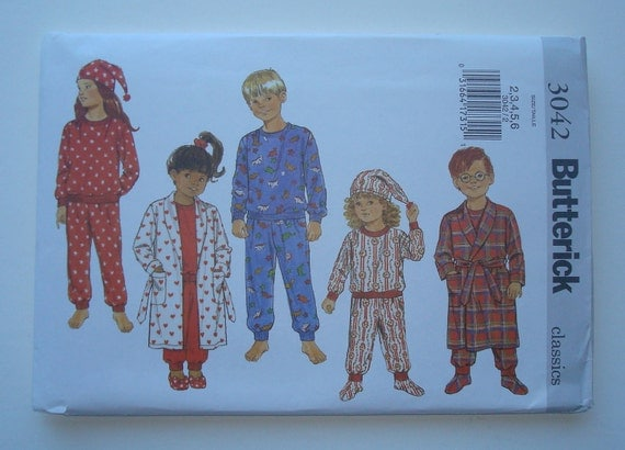 Butterick 3042- Sewing Pattern for Children's, Boys' and Girls' Robe, Belt, Pajamas, Hat & Booties-Sizes 2, 3, 4, 5, 6- New and Uncut