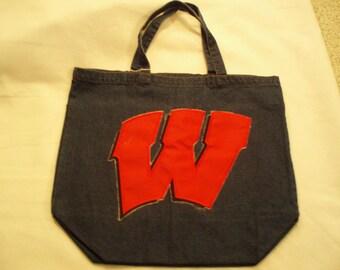 """Navy Denim tote with """"W"""" logo"""