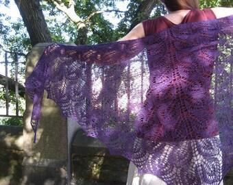 deep purple lace shawl